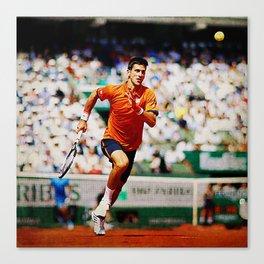 Novak Djokovic Tennis Chasing a Lob Canvas Print