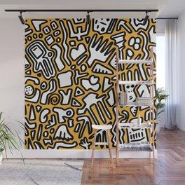 black doodle on orange Wall Mural