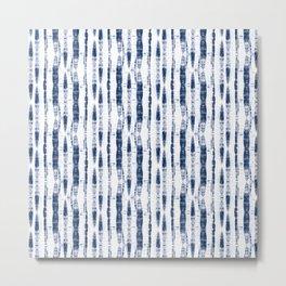 Shibori Stripes 2 Indigo Blue Metal Print