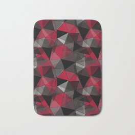 Abstract polygonal pattern.Red, black, grey triangles. Bath Mat