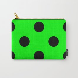 Giant Black and Lime Green Polka Dot Pattern | Carry-All Pouch