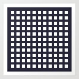 Thick Dark blue grid pattern Art Print