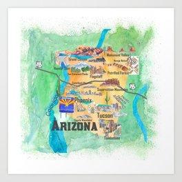 USA Arizona State Travel Poster Illustrated Art Map Art Print