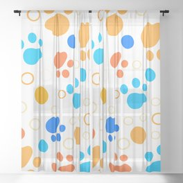 Bright color summer joy paws pattern animal footprints doodle style Sheer Curtain