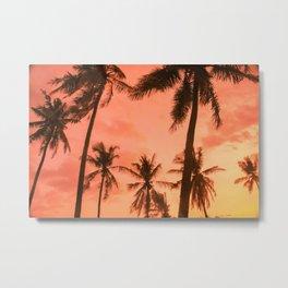 Pink Sunset Tropics Metal Print