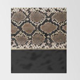 Modern black brown gold snake skin animal print Throw Blanket