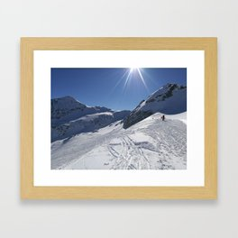 Up here, with sun and snow Framed Art Print