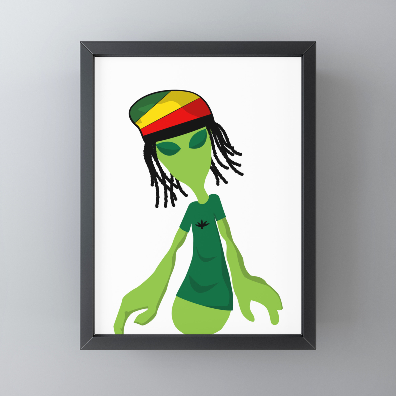Rastafari Alien Smoking Weed Rasta Marijuana Smoker Design Framed