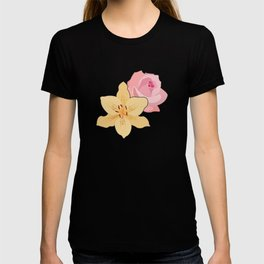 Pink Rose & Day Lily T-shirt