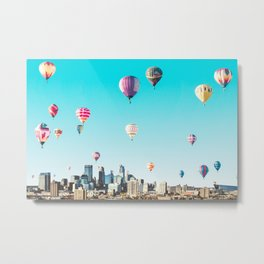 Minneapolis, Minnesota Skyline with Hot Air Balloons Over the City Skyline Metal Print