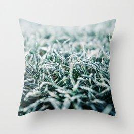 Green Grass Under Morning Hoarfrost Throw Pillow