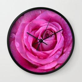 Pink rose close up with raindrops Wall Clock