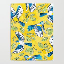 Flying Birds and Oak Leaves on Yellow Poster