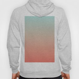 Ombre Living Coral with Turquoise Hoody