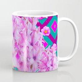PURPLISH-PINK ROSES & HYACINTHS TEAL PATTERN ART Coffee Mug