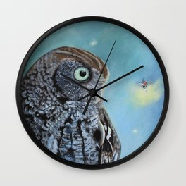 Owl and Lightning Bugs Wall Clock