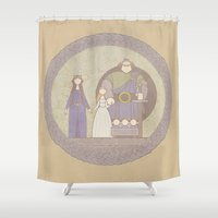 tapestry Shower Curtains featuring tapestry...  by studiomarshallarts