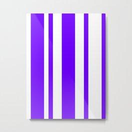 Mixed Vertical Stripes - White and Indigo Violet Metal Print