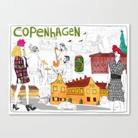 copenhagen Canvas Prints featuring Copenhagen by Nanu Illustration