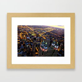 Chicago By Night Framed Art Print