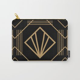 Retro vintage glam 1920s fashion black and gold geometric pattern art deco  Carry-All Pouch