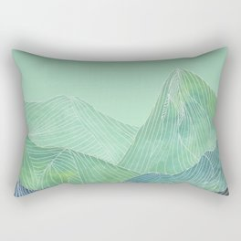 Lines in the mountains - green Rectangular Pillow