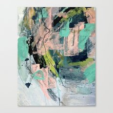Connect [4] : a vibrant acrylic abstract in neon green, blues, pinks, & hints of orange Canvas Print