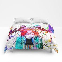 Moose Watercolor Grunge Comforters