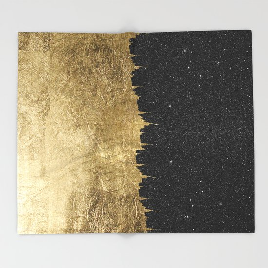 Faux Gold and Black Starry Night Brushstrokes by blackstrawberry
