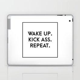 wake up. kick ass. repeat. Laptop & iPad Skin