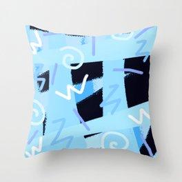 vintage 90s craze blue Throw Pillow