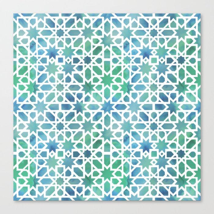Spanish Tile Watercolor Mosaic Canvas Print By Nolovebyhalves