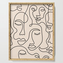 Abstract Single Line Face  Serving Tray