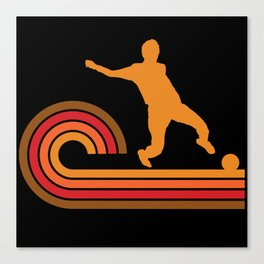 Retro Style Soccer Player Silhouette Sports Canvas Print