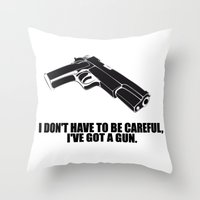 gun Throw Pillows featuring gun by muffa