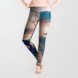 blue hue sun surfing aesthetic art Leggings