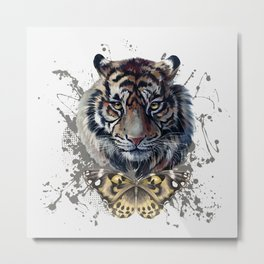 Tiger and Butterfly Metal Print