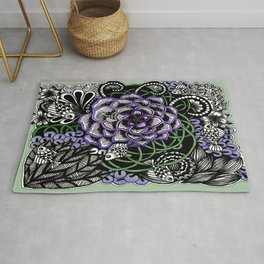 Fishes on a Coral Reef Greens - Zentangle Illustration Rug