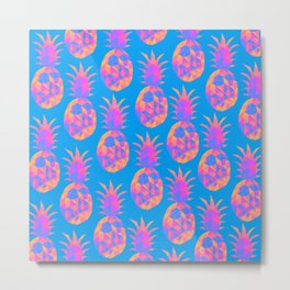 bold fruity pink pineapples pattern against blue background design Metal Print