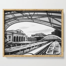 Union Station // Train Travel Downtown Denver Colorado Black and White City Photography Serving Tray