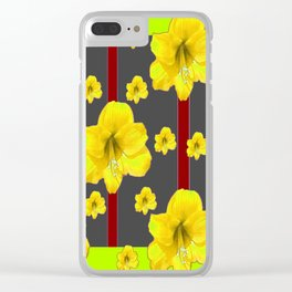 LIME-GREY YELLOW AMARYLLIS BLACK-RED DECO ART Clear iPhone Case