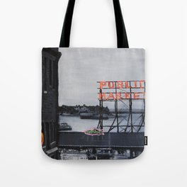 Pike Place Market - Black & White & Neon -Seattle Washginton Tote Bag
