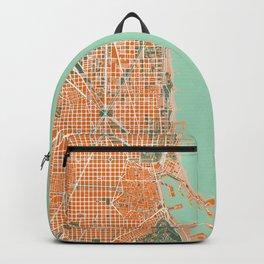 Barcelona city map orange Backpack