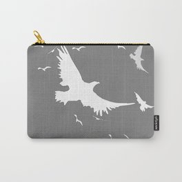 WHITE BIRDS IN FLIGHT GREY ABSTRACT MODERN ART Carry-All Pouch
