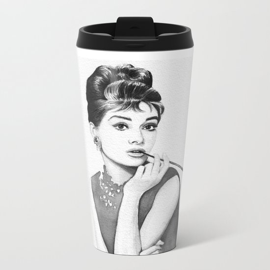 Audrey Hepburn Breakfast at Tiffanys Metal Travel Mug