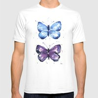 Butterflies Watercolor Blue and Purple Butterfly SMALL White Mens Fitted Tee