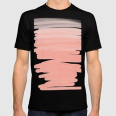 Modern abstract pink coral ombre brushstrokes pattern Mens Fitted Tee Black MEDIUM