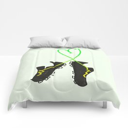 Green and Yellow Soccer Cleats with Heart Comforters