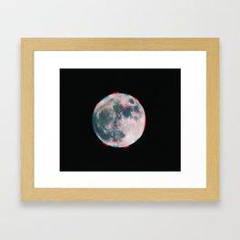 Glitchy Moon Framed Art Print