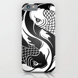 White and Black Yin Yang Koi Fish iPhone Case